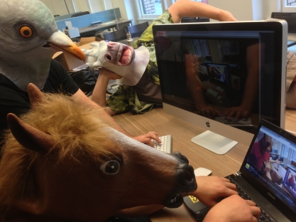 Horse_js, Squirrel head, and the Unicorn help organize the inception of Node PDX 2013!