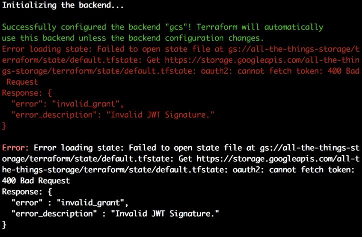 "Terraform ""Invalid JWT Signature "" – Composite Thrashing Code"