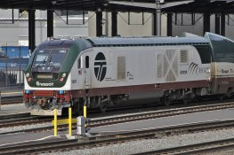 Siemens Charger engine waiting with Talgo train.